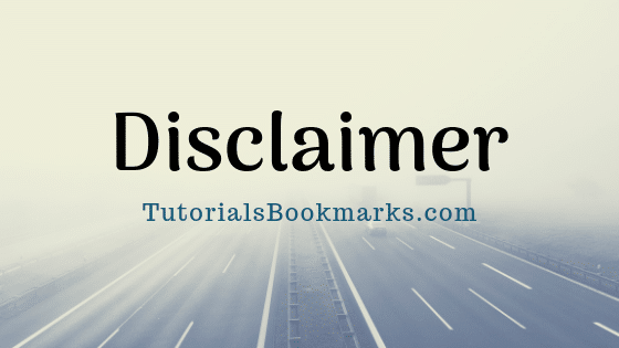 Disclaimer for Tutorials Bookmarks