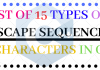 Escape Sequence Characters List