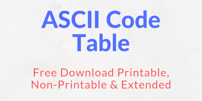 image regarding Non Printable Ascii Characters identified as ASCII Code Desk Printable, Non-Printable Extensive PDF