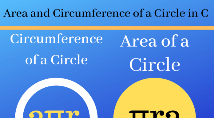 Area and Circumference of a Circle in C Language