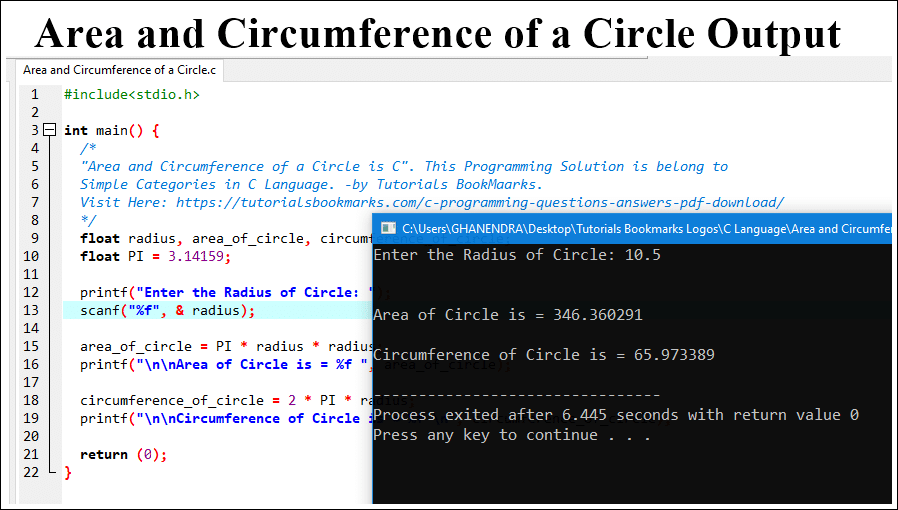 Area of Circle Program in C Output