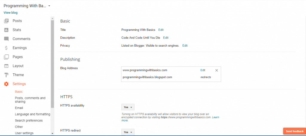 setting in blogger dashboard