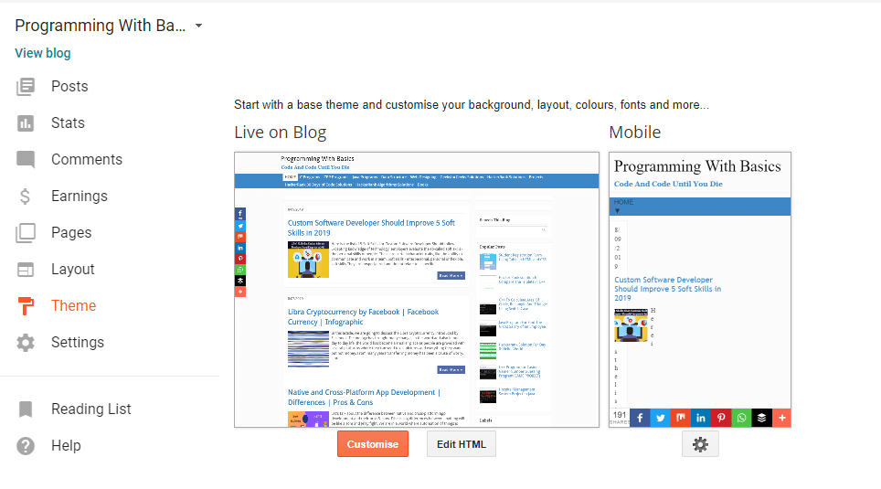 Customize blogger theme how to start blog