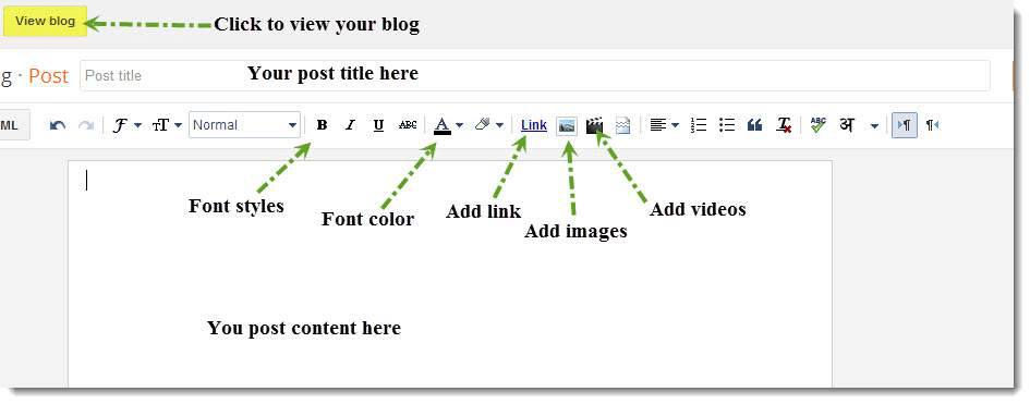 blog page layout and controls in Blogger