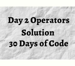 Day 2 Operators Solution Hackerrank 30 Days of Code