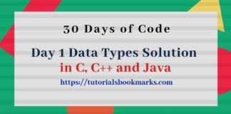 Day 1 Data Types Solution in C Cpp and Java